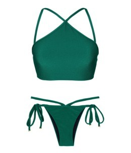 Duna Green Cropped Neck